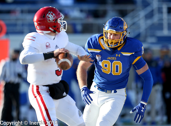 BROOKINGS, SD - NOVEMBER 17: Ryan Earith #90 from South Dakota State University bears down on quarterback Austin Simmons #3 from the University of South Dakota during their game Saturday afternoon at Dana J. Dykhouse Stadium in Brookings, SD. (Photo by Dave Eggen/Inertia)