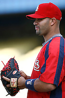 Albert Pujols of the St. Louis Cardinals during batting practice before a game from the 2007 season at Dodger Stadium in Los Angeles, California. (Larry Goren/Four Seam Images)