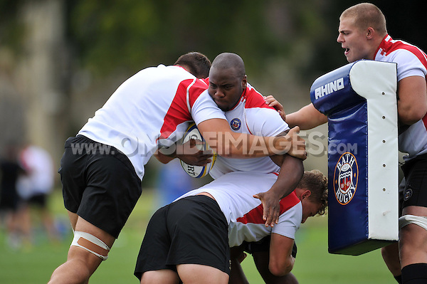 Beno Obano of Bath Rugby in action. Bath Rugby training session on September 4, 2015 at Farleigh House in Bath, England. Photo by: Patrick Khachfe / Onside Images