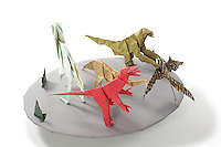 Detail of Origami model.<br /> Allosaurus designed by Stephen O'Hanlon, folded by Joe Adia<br /> Ornithomimus designed by Stephen O'Hanlon, folded by  Samantha Stricklin<br /> Anchiornis designed by various, folded by Rosalind Joyce<br /> Feathered Therizinosaurus designed by Tran Trung Hieu, folded by Alfred Kwan<br /> Velociraptor designed by Stefano Bachis, folded by Lorne Dannenbaum<br /> Grass designed and folded by Rosalind Joyce