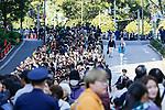 People line up to greet Japan's Emperor Naruhito and Empress Masako during the royal parade in Tokyo on November 10, 2019, Japan. (Photo by Rodrigo Reyes Marin/AFLO)
