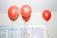 Campaign balloons for Kentucky senator and Republican presidential candidate Rand Paul float at the ceiling at a celebration at his campaign headquarters in Manchester, New Hampshire.