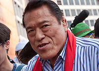 Former professional wrestler, Antonio Inoki, campaigning for the right-wing Japan Restoration Party outside Shinjuku station, Tokyo, Japan. Friday July 19th 2013