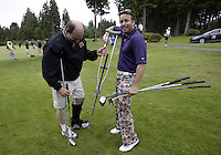 June 23, 2008:  Hollywood actor Bret Anthony delivered a special modified golf club taped to a crutch to his partner Ken McCabe before playing in the Detlef Schrempf celebrity golf classic held at McCormick Woods golf club in Port Orchard, WA.