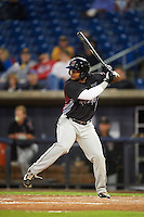 Wisconsin Timber Rattlers outfielder Omar Cotto (33) at bat during the first game of a doubleheader against the Quad Cities River Bandits on August 19, 2015 at Modern Woodmen Park in Davenport, Iowa.  Quad Cities defeated Wisconsin 3-2.  (Mike Janes/Four Seam Images)