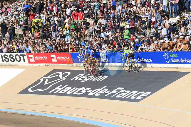 The lead riders Zdenek Stybar (CZE) Quick-Step Floors, Greg Van Avermaet (BEL) BMC Racing Team and Sebastian Langeveld (NED) Cannondale-Drapac enter the old Velodrome in Roubaix at the  end of the 115th edition of the Paris-Roubaix 2017 race running 257km Compiegne to Roubaix, France. 9th April 2017.<br /> Picture: Eoin Clarke | Cyclefile<br /> <br /> <br /> All photos usage must carry mandatory copyright credit (&copy; Cyclefile | Eoin Clarke)