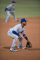 AZL Mariners third baseman Rubendy Jaquez (3) during an Arizona League game against the AZL Royals at Peoria Sports Complex on July 25, 2018 in Peoria, Arizona. The AZL Mariners defeated the AZL Royals 5-3. (Zachary Lucy/Four Seam Images)