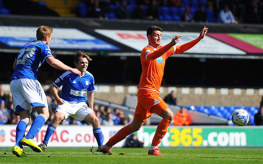 Blackpool's Gary Madine in action during todays match  <br /> <br /> Photographer Kevin Barnes/CameraSport<br /> <br /> Football - The Football League Sky Bet Championship - Ipswich Town v  Blackpool - Saturday 11th April 2015 - Portman Road - Ipswich<br /> <br /> &copy; CameraSport - 43 Linden Ave. Countesthorpe. Leicester. England. LE8 5PG - Tel: +44 (0) 116 277 4147 - admin@camerasport.com - www.camerasport.com