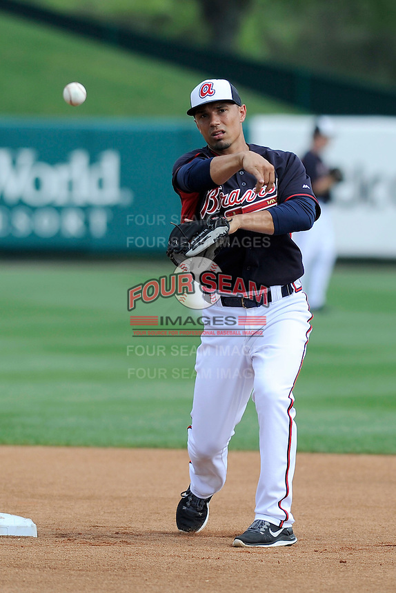 Second baseman Jace Peterson (28) of the Atlanta Braves works out before a Spring Training game against the New York Yankees on Wednesday, March 18, 2015, at Champion Stadium at the ESPN Wide World of Sports Complex in Lake Buena Vista, Florida. The Yankees won, 12-5. (Tom Priddy/Four Seam Images)