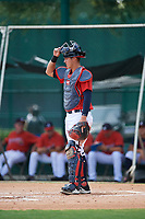 GCL Braves catcher Abrahan Gutierrez (4) during a game against the GCL Pirates on July 27, 2017 at ESPN Wide World of Sports Complex in Kissimmee, Florida.  GCL Braves defeated the GCL Pirates 8-6.  (Mike Janes/Four Seam Images)