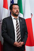 Matteo Salvini - Ministre de l Interieur et Premier Ministre Italie<br /> Parigi Place Beauveau 5/4/2019 <br /> G7 Ministri dell'interno <br /> Foto JB Autissier/Panoramic/Insidefoto