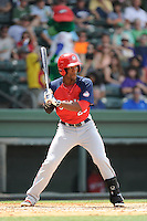 Center fielder Dale Carey (20) of the Hagerstown Suns, in a game against the Greenville Drive on May 12, 2015, at Fluor Field at the West End in Greenville, South Carolina. Greenville won, 4-0. (Tom Priddy/Four Seam Images)
