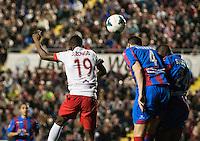 J.Zongo Simao and Navarro during the match  at Levante U.D. 1 - 0 Almeria C.F. in BBVA League match played at the Ciudad de Valencia stadium (Valencia). Scoreboard: Barral for Levante. (photo: Francesc Juan)