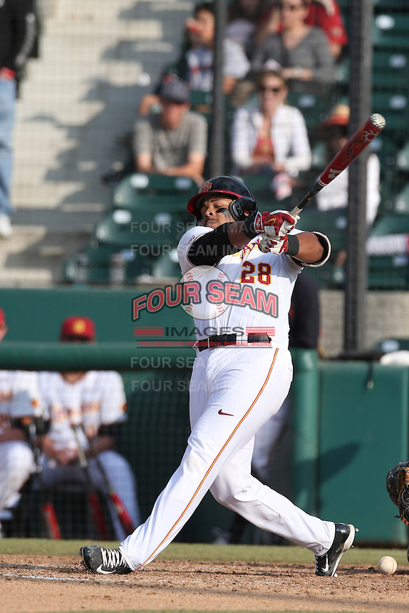 Timmy Robinson (28) of the Southern California Trojans bats during a game against the Oakland Grizzlies at Dedeaux Field on February 21, 2015 in Los Angeles, California. Southern California defeated Oakland, 11-1. (Larry Goren/Four Seam Images)