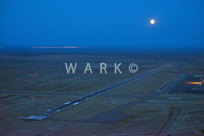 Pueblo Memorial Airport night with full moon.  Sept 2012