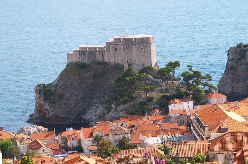 The Lovrijenac Fort and city rooftops Dubrovnik, old city. Dalmatian Coast, Croatia, Europe.