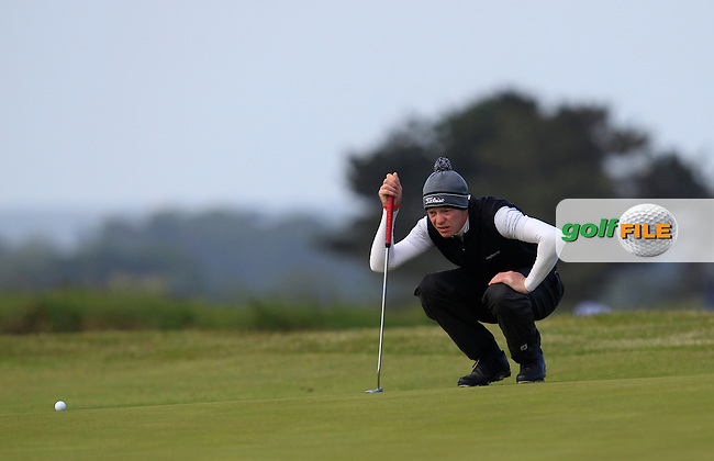 Evan Farrell (Ardee) on the 1st green during Round 2 of the East of Ireland Amateur Open Championship at Co. Louth Golf Club, Baltray on Sunday 30th May 2015.<br /> Picture:  Thos Caffrey / www.golffile.ie