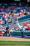 14 April 2018: Colorado Rockies starting pitcher Jon Gray on the mound in the first inning against the Washington Nationals at Nationals Park in Washington, DC. The Nationals rallied to defeat the Rockies 6-2 in the 3rd game of their 4-game series. Mandatory Credit: Ed Wolfstein Photo *** RAW (NEF) Image File Available ***