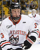 Josh Manson (Northeastern - 3) - The Harvard University Crimson defeated the Northeastern University Huskies 3-2 in the 2012 Beanpot consolation game on Monday, February 13, 2012, at TD Garden in Boston, Massachusetts.