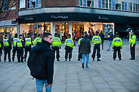 Thursday 20 February 2014<br /> Pictured: A police line on the top of Swnsea's Oxford street that would normally be packed with Shoppers Re: Napoli Supporters visit Swansea for tonights UEFA Leauge clash