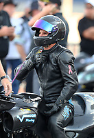 Oct 29, 2016; Las Vegas, NV, USA; NHRA pro stock motorcycle rider David Hope during qualifying for the Toyota Nationals at The Strip at Las Vegas Motor Speedway. Mandatory Credit: Mark J. Rebilas-USA TODAY Sports