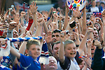 Rangers Fans in Manchester, 14/05/2008. Albert Square, UEFA Cup Final. Fans of Glasgow Rangers cheering in the centre of Manchester as they watch the UEFA Cup final against Zenit St. Petersburg on a large screen in Albert Square, the location of one of the UEFA Fan Zones. The match was staged at the City of Manchester Stadium and was won by the Russian team by two goals to nil. It was Rangers' first European final appearance since they won the Cup-Winners Cup in 1972 and around 150,000 fans gathered in Manchester. Photo by Colin McPherson.