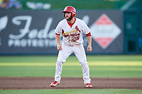 Springfield Cardinals first baseman Casey Grayson (38) leads off during a game against the Corpus Christi Hooks on May 30, 2017 at Hammons Field in Springfield, Missouri.  Springfield defeated Corpus Christi 4-3.  (Mike Janes/Four Seam Images)
