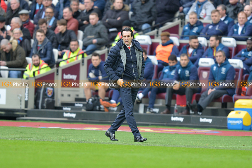 Arsenal Manager Unai Emery during West Ham United vs Arsenal, Premier League Football at The London Stadium on 12th January 2019