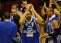 Kevin Owens applauds the crowd after the win during the NBL Round 12 match between the Wellington Saints and Nelson Giants at TSB Bank Arena, Wellington, New Zealand on Thursday 15 May 2008. Photo: Dave Lintott / lintottphoto.co.nz