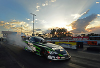 Jan. 16, 2013; Jupiter, FL, USA: NHRA top funny car driver Alexis DeJoria during testing at the PRO Winter Warmup at Palm Beach International Raceway.  Mandatory Credit: Mark J. Rebilas-
