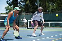Palo Alto, Ca - Saturday, May 5, 2018: Pickle Ball at the 2018 Bay Area Senior Games at Mitchell Park.