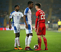 Michael Amir Murillo of Panama (C) argues with Ben Woodburn of Wales (R) during the international friendly soccer match between Wales and Panama at Cardiff City Stadium, Cardiff, Wales, UK. Tuesday 14 November 2017.