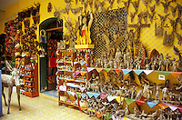 Wooden figurines and other handicrafts for sale in the MARO, Mujeres Artesanias de las Regiones de Oaxaca, shop in Oaxaca City, Mexico