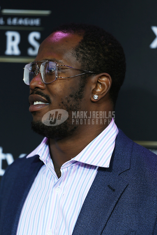 Feb. 2, 2013; New Orleans, LA, USA:  NFL player Von Miller on the red carpet prior to the Super Bowl XLVII NFL Honors award show at Mahalia Jackson Theater. Mandatory Credit: Mark J. Rebilas-USA TODAY Sports