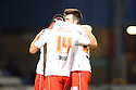 Simon Heslop of Stevenage is congratulated by Michael Doughty (r) after scoring the opening goal<br />  - Gillingham v Stevenage - Sky Bet League One - Priestfield, Gillingham - 26th November 2013. <br /> © Kevin Coleman 2013