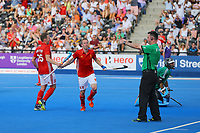 England's Barry Middleton celebrates scoring to take his side to a 3-0 lead during the Hockey World League Semi-Final match between England and Argentina at the Olympic Park, London, England on 18 June 2017. Photo by Steve McCarthy.