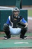 April 17, 2009:  Catcher Brad Davis of the Jacksonville Suns, Southern League Class-AA affiliate of the Florida Marlins, during a game at the Baseball Grounds of Jacksonville in Jacksonville, FL.  Photo by:  Mike Janes/Four Seam Images