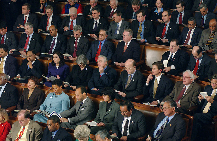 1/28/03.STATE OF THE UNION ADDRESS--Democrats listen to President George W. Bush's State of the Union address at the U.S. Capitol..CONGRESSIONAL QUARTERLY PHOTO BY SCOTT J. FERRELL
