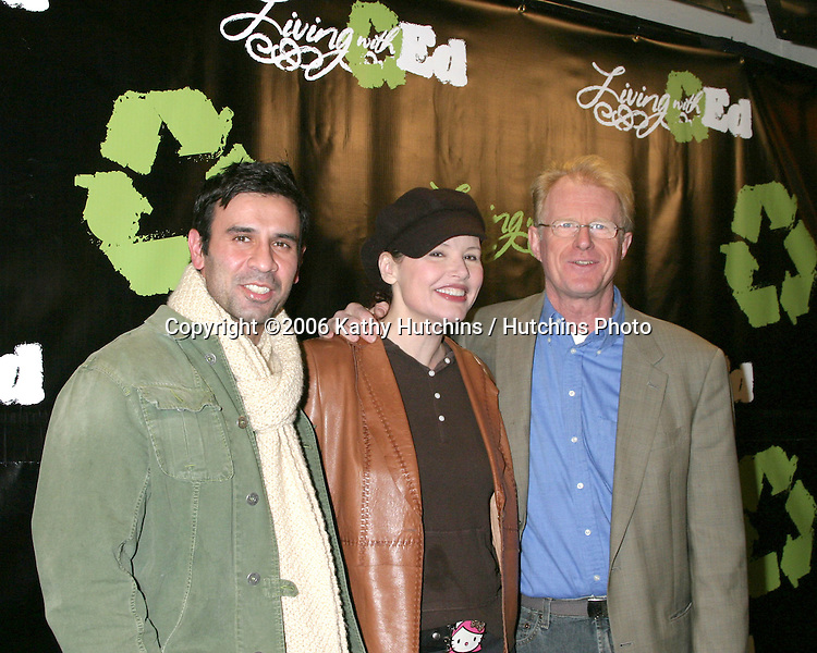 "Geena Davis & Husband, with Ed Begley Jr.""Living With Ed"" Premiere Screening & Party.Sunset Lammle Theater.Los Angeles, CA.December 21,  2006.©2006 Kathy Hutchins / Hutchins Photo...."