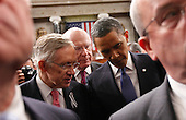 United States President Barack Obama talks with Senate Majority Leader Harry Reid of Nev., left, and Sen. Patrick Leahy, D-Vt., on Capitol Hill in Washington, Tuesday, Jan. 25, 2011, after delivering his State of the Union address ..Credit: Pablo Martinez Monsivais / Pool via CNP