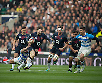 Twickenham, United Kingdom, Elliot DALY, on a run,before his red card, during the Old Mutual Wealth Series Rest Match: England vs Argentina, at the RFU Stadium, Twickenham, England, <br />