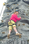 CLIMBING HIGH: 9 year old Rachel O'Regan, Monalee, Tralee climbing high at the Munster Fun Climbing Wall at the Kerry Harvest Fair at Tralee Mart on Sunday.