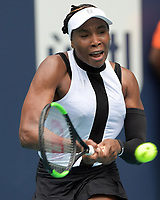 MIAMI GARDENS, FLORIDA - MARCH 21: Venus Williams of USA defeats Dalila Jakupovic of Slovenia during day four of the Miami Open tennis on March 21, 2019 in Miami Gardens, Florida.<br /> <br /> People: Venus Williams