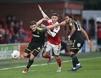 Fleetwood Town's Wes Burns  battles with AFC Wimbledon's Ben Purrington<br /> <br /> Photographer Mick Walker/CameraSport<br /> <br /> Emirates FA Cup Third Round - Fleetwood Town v AFC Wimbledon - Saturday 5th January 2019 - Highbury Stadium - Fleetwood<br />  <br /> World Copyright © 2019 CameraSport. All rights reserved. 43 Linden Ave. Countesthorpe. Leicester. England. LE8 5PG - Tel: +44 (0) 116 277 4147 - admin@camerasport.com - www.camerasport.com