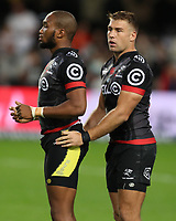 DURBAN, SOUTH AFRICA - MAY 27: Lukhanyo Am with Johan Deysel of the Cell C Sharks during the Super Rugby match between Cell C Sharks and DHL Stormers at Growthpoint Kings Park on May 27, 2017 in Durban, South Africa. Photo by Steve Haag / stevehaagsports.com