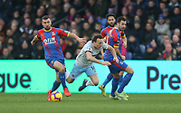 West Ham United's Mark Noble is challenged by Crystal Palace's James McArthur and Luka Milivojevic<br /> <br /> Photographer Rob Newell/CameraSport<br /> <br /> The Premier League - Saturday 9th February 2019  - Crystal Palace v West Ham United - Selhurst Park - London<br /> <br /> World Copyright © 2019 CameraSport. All rights reserved. 43 Linden Ave. Countesthorpe. Leicester. England. LE8 5PG - Tel: +44 (0) 116 277 4147 - admin@camerasport.com - www.camerasport.com