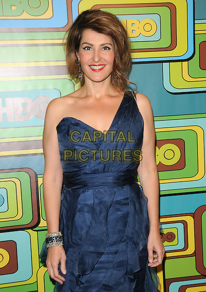 NIA VARDALOS .The HBO's Post Golden Globes Party held at The Beverly Hilton Hotel in Beverly Hills, California, USA..January 16th, 2011.half length blue one shoulder dress maxi.CAP/RKE/DVS.©DVS/RockinExposures/Capital Pictures.
