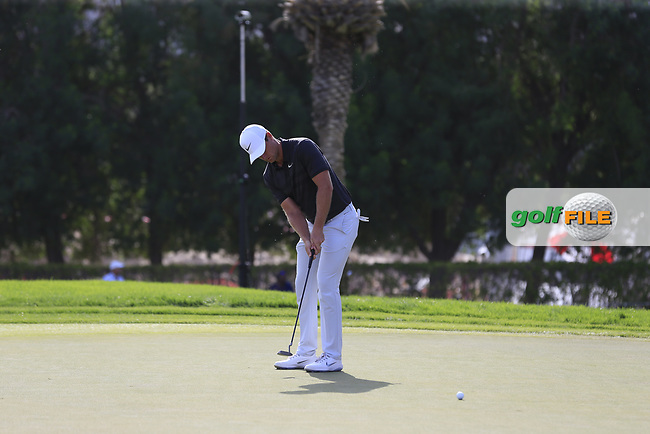 Lucas Bjerregaard (DEN) on the 16th green during Round 4 of the Omega Dubai Desert Classic, Emirates Golf Club, Dubai,  United Arab Emirates. 27/01/2019<br /> Picture: Golffile | Thos Caffrey<br /> <br /> <br /> All photo usage must carry mandatory copyright credit (&copy; Golffile | Thos Caffrey)