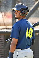 Infielder Luis Carpio (18) of the Columbia Fireflies during the team's first workout of the season on Sunday, April 2, 2017, at Spirit Communications Park in Columbia, South Carolina. (Tom Priddy/Four Seam Images)