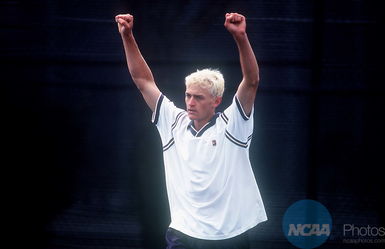 19 MAY 1999: Thomas Oechel of UC Santa Cruz celebrates his victory over Brian Cummings also of UC Santa Cruz during the Division III Men's Tennis Singles Championship held at Claremont McKenna College in Claremont, CA. Oechel defeated Cummings 7-5, 6-0 for the singles championship title. David Gonzales/NCAA Photos.